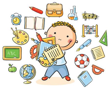 多くの異なる学校の科目を表す学校ものと漫画少年