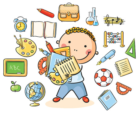 Cartoon schoolboy with lots of school things representing different school subjects