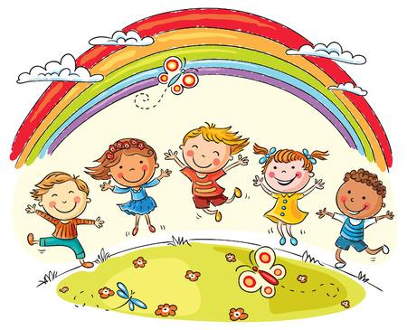 bambini: I bambini che saltano con gioia su una collina sotto arcobaleno, colorato cartone animato