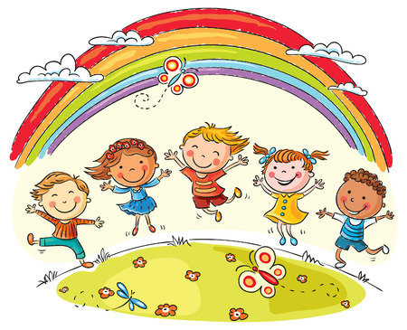 spring summer: Kids jumping with joy on a hill under rainbow, colorful cartoon