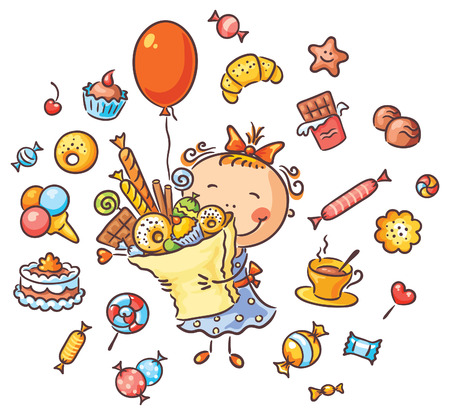 paperbag: Happy girl with lots of sweets, cookies and candies has her birthday