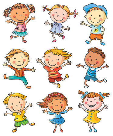 Nine happy kids dancing or jumping with joy, no gradients, isolated