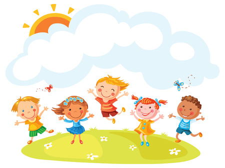 Happy cartoon kids jumping with joy on a hill with a copy space, no gradients, no outline