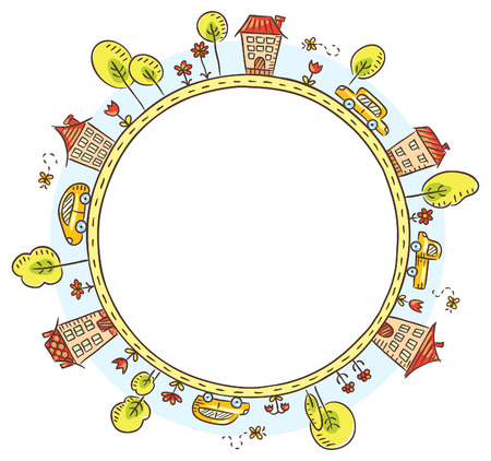row houses: Round frame with houses, cars, trees and flowers, no gradients