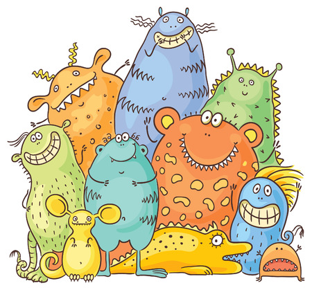 pattern monster: Group of happy cartoon colorful monsters, no gradients