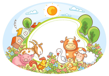 farm animal: Oval frame with farm animals, houses, trees and flowers