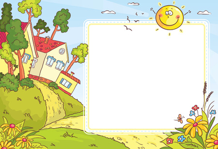 Square frame with countryside landscape with a little village, trees and flowers Vector