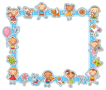 Rectangular frame with happy cartoon kids, pets and flowers