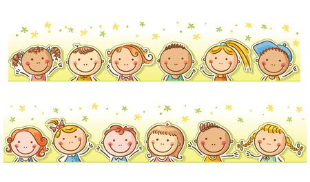 12: Border frame with 12 happy cartoon kids Illustration