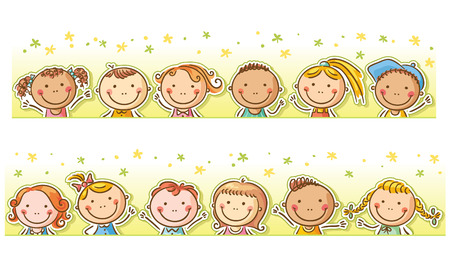 Frame van de grens met 12 happy cartoon kinderen Stock Illustratie