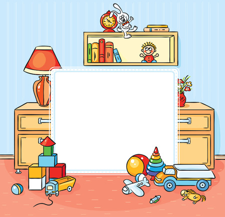 playroom: Square frame with a children room with a lot of toys Illustration