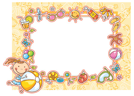 Square frame with a little girl and many summer things, no gradients Vector