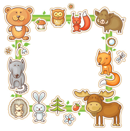 square shape: Square frame with cartoon forest animals, no gradients