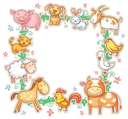かわいい漫画の農場の動物、グラデーションと正方形のフレーム