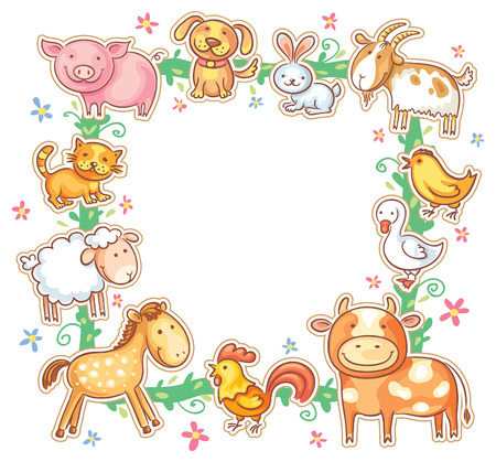 Square frame with cute cartoon farm animals, no gradients