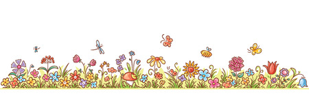 Colorful flower border with lots of cartoon flowers, grass and butterflies, no gradients Illustration