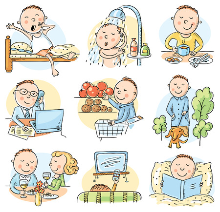 Cartoon man daily routine activities set, no gradients Vettoriali