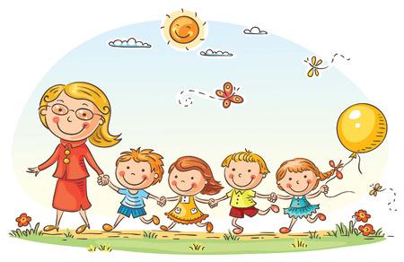 Niños de dibujos animados y su profesor en una caminata en el jardín de infantes