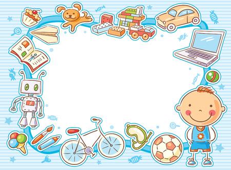 Blauw rechthoekig frame met een kind en zijn spullen, speelgoed, snoep, computer, sportartikelen