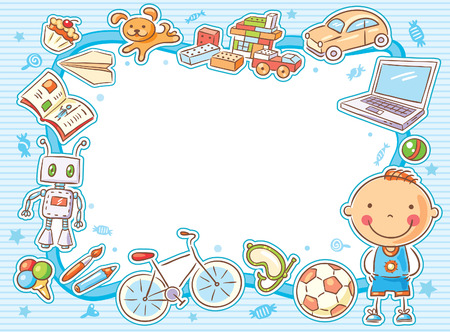Blue rectangular frame with a child and his things, toys, sweets, computer, sports equipment