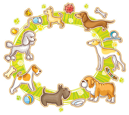 breeds: Round frame with cartoon dogs of different breeds, no gradients Illustration