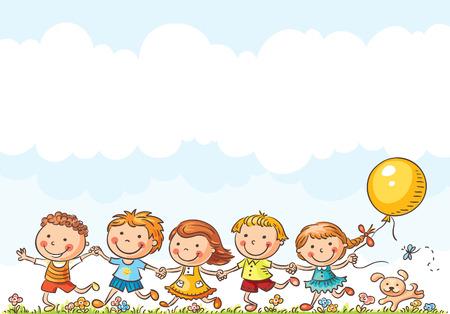 amistad: Felices los niños de dibujos animados que se ejecutan al aire libre en un día de verano