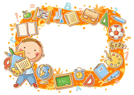 Cartoon schoolboy frame with lots of school things Vector