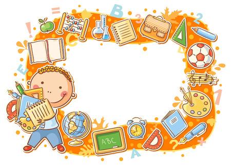 Cartoon schooljongen frame met veel school dingen
