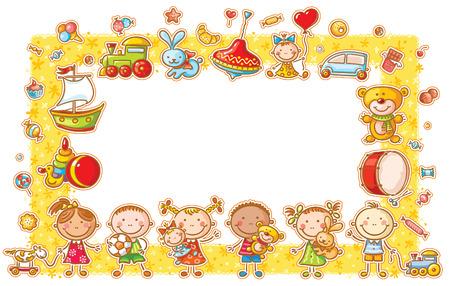 Rechthoekig frame met cartoon kinderen, speelgoed en snoep, geen hellingen Stock Illustratie