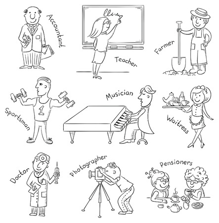 pianist: Profession set, hand drawn, black and white Illustration
