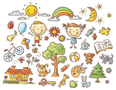 Doodle conjunto de objetos de la vida de un niño - los animales domésticos, juguetes, elementos de la naturaleza, la comida, etc.