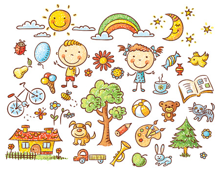 kinderen: Doodle set van objecten uit het leven van een kind - huisdieren, speelgoed, natuur elementen, voedsel, etc