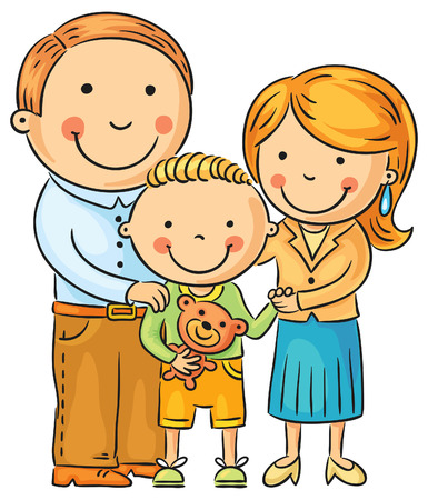 cartoon boy: Happy family with a little son, isolated on white, no gradients Illustration