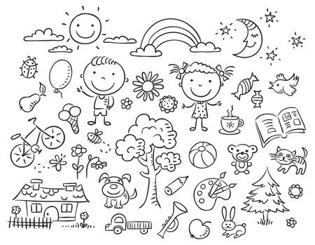 dessin fleur: Doodle ensemble d'objets de la vie d'un enfant, contour noir et blanc