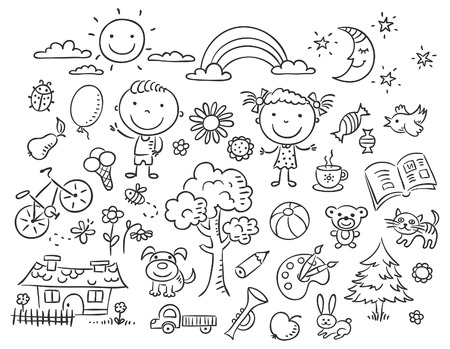 Doodle set of objects from a childs life, black and white outline Çizim