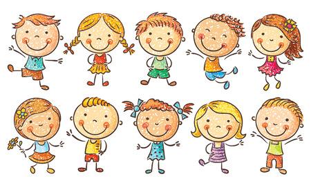 persona alegre: Diez niños felices de dibujos animados de colores en una imitación de estilo de dibujo  lápiz, no degradados, aislados