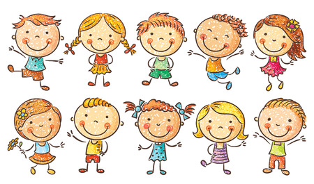 Ten happy cartoon kids colored in a doodle stylepencil imitation, no gradients, isolated Çizim