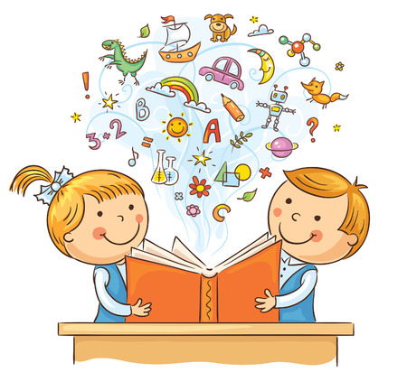 escuela caricatura: Niños que leen un libro y aprender muchas cosas nuevas, no degradados