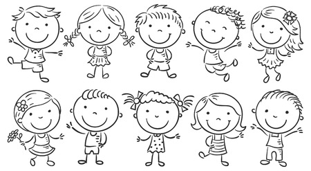 Ten happy cartoon kids colored in a doodle style pencil imitation, no gradients, isolated