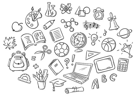 school things: Set of simple cartoon school things colored in a doodle style pencil imitation, black and white outline