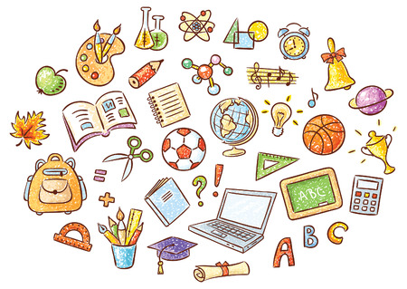 Set of simple cartoon school things colored in a doodle style pencil imitation, no gradients