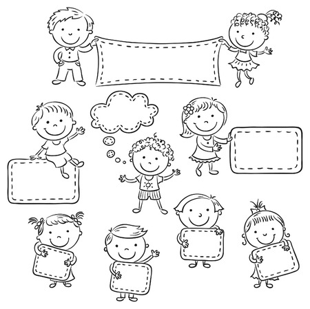 Little cartoon kids with blank signs, black and white outline Ilustração