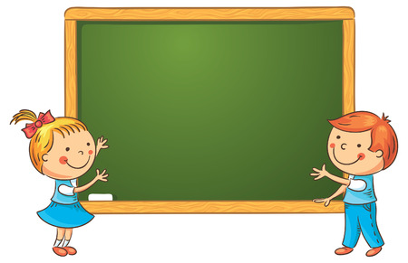 blank chalkboard: Little kids at the blackboard in the classroom, frame with a copy space Illustration