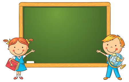 chalkboard drawings: Schoolchildren at the blackboard in the classroom, frame with a copy space