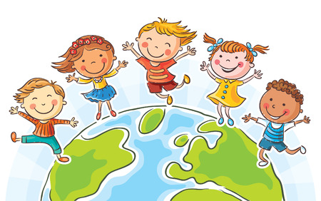 Five happy jumping kids round the globe, no gradients Vectores