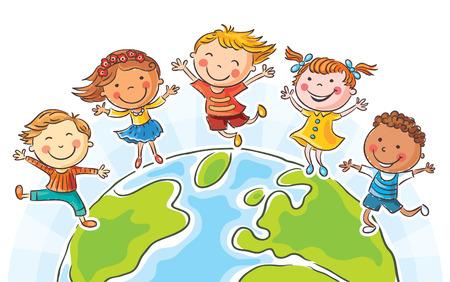 Fünf glückliche Kinder springen rund um den Globus, keine Steigungen Illustration