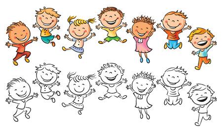 dessin enfants: Enfants heureux riant et sautant de joie, pas de gradients, isol�, � la fois color�s et en noir et blanc Illustration