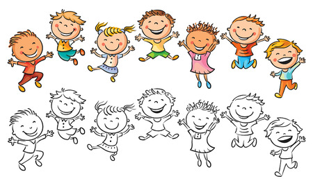 joy: Happy kids laughing and jumping with joy, no gradients, isolated, both colored and black and white
