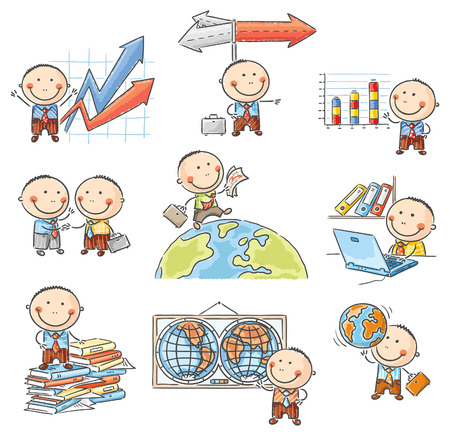 Cartoon businessman set with graphs, arrows, globes and other symbols