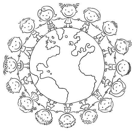 Children round the globe, black and white outline